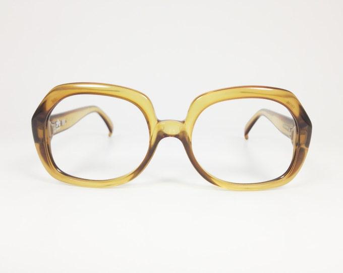 70s Vintage Glasses | Optyl Round Clear Olive Eyeglass Frame | NOS 1970s Oversized Oval Eyeglasses | Vintage Deadstock Eyewear  - 1010