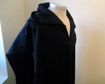 Black Cotton Hood Little Tent Caftan with Fringes (Titzits) and Blue Ribbon, Tallit Kaftan