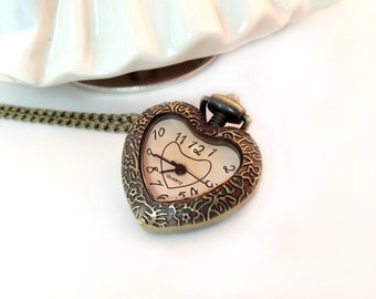 1 Pc Small Vintage Style Pocket Watch Heart Necklace Pink Jewel Glass Face