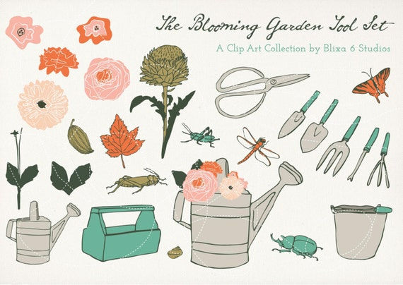 Blooming garden digital clip art drawing set of 26 hand for Gardening tools drawing