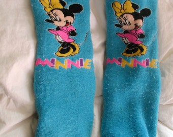 Vintage Thick slipper socks with Minnie mouse on them