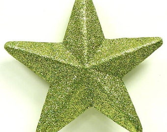 Case of 12 Glitter Foam Stars Green Glitter Stars 3in Height One Dozen in Total