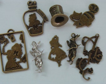 Alice in wonderland 8 styles charms.Select your favorite!Antique bronze & silver color.