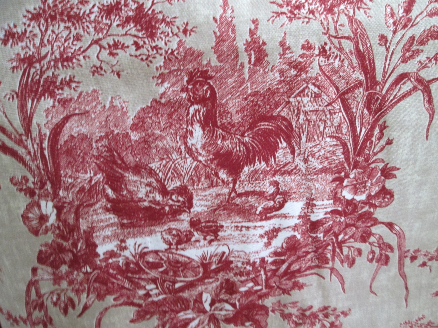 French toile fabric 2 1 2 yards linen blend by menageriemall for French toile fabric