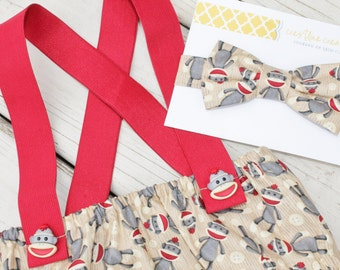 Cake Smash Outfit, First Birthday Outfit, Sock Monkey Diaper Cover and Bow Tie