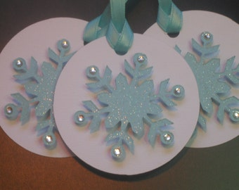 Snowflake Holiday Gift Tags / Christmas Gift Tags / 3D Snowflake Gift Tags / Set of 3