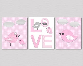 Pink and grey love birds Nursery Art Print Set - 8x10 - Baby Girl Room Decor, love bird family, love nursery art, baby bird - UNFRAMED
