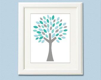 Teal tree nursery Art Print - 8x10 - Children wall art, baby boy wall decor, baby boy room decor, aqua and grey - UNFRAMED