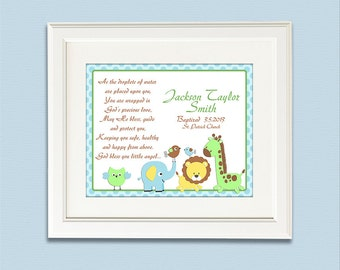 Baptism gift - 11x14 - Chtistian art, Christening gift for boys, As the droplets of water,  pray, elephant, giraffe, lion, birds -  UNFRAMED