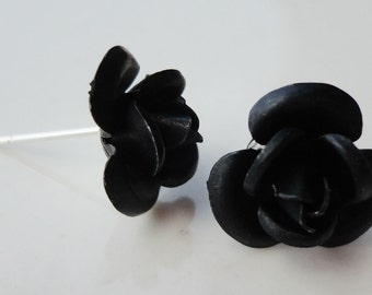 Black Metal Rose Flower 12mm Stud Earring