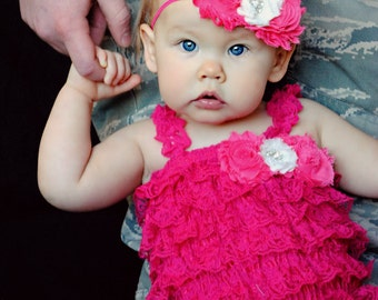 Hot Pink Lace Petti Romper and Headband Set, Cake Smash Outfit, Newborn Outfit, 1st Birthday Outfit, Infant Outfit, Shabby Chic Outfit
