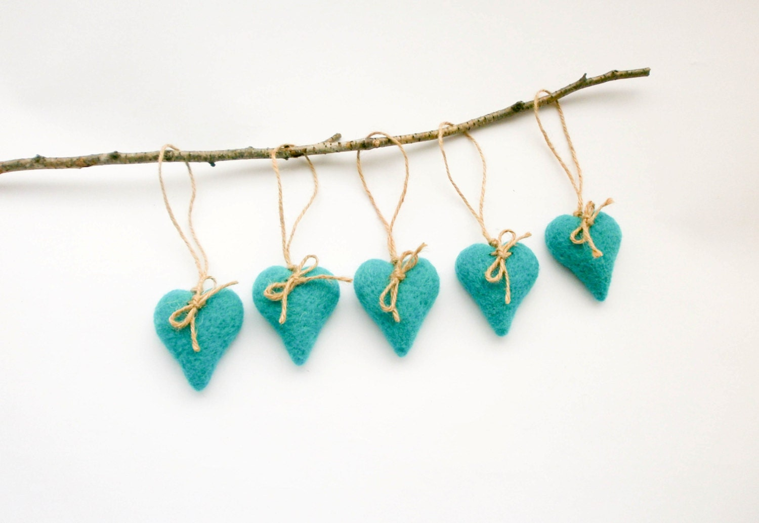 Clearance sale heart ornament set of five needle felted for Christmas ornament sale clearance