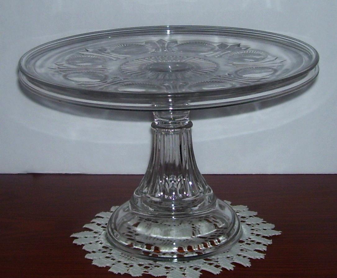 Eapg Fostoria Glass Robin Hood Pedestal Cake Stand Plate