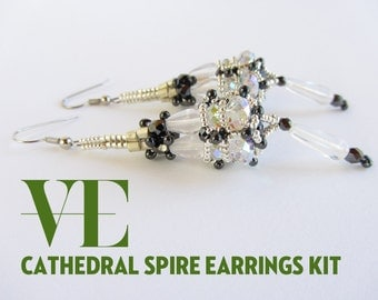 Cathedral Spire Earrings Materials Kit in Silver and White