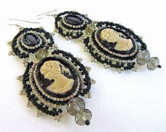 Romantic Modern Victorian Black and Ivory Cameo Earrings