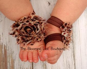 Leopard Baby Barefoot Sandals - Newborn Clothing - Toddler Sandals - Baby Clothing - Newborn Shoes
