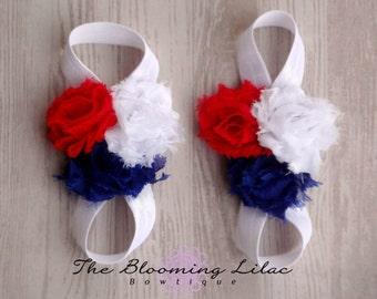 Red White and Blue Fourth of July  Baby Barefoot Sandals - July 4th - Photography Prop - Newborn Sandals - Baby Sandals Labor Day