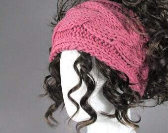 Earwarmer headband,  headband in Dusty Pink, Earwarmer, Head Band, Chunky  knitted Headband