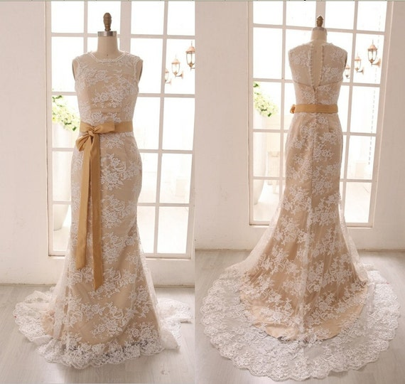 vintage inspired ivory lace wedding dress with by misdress