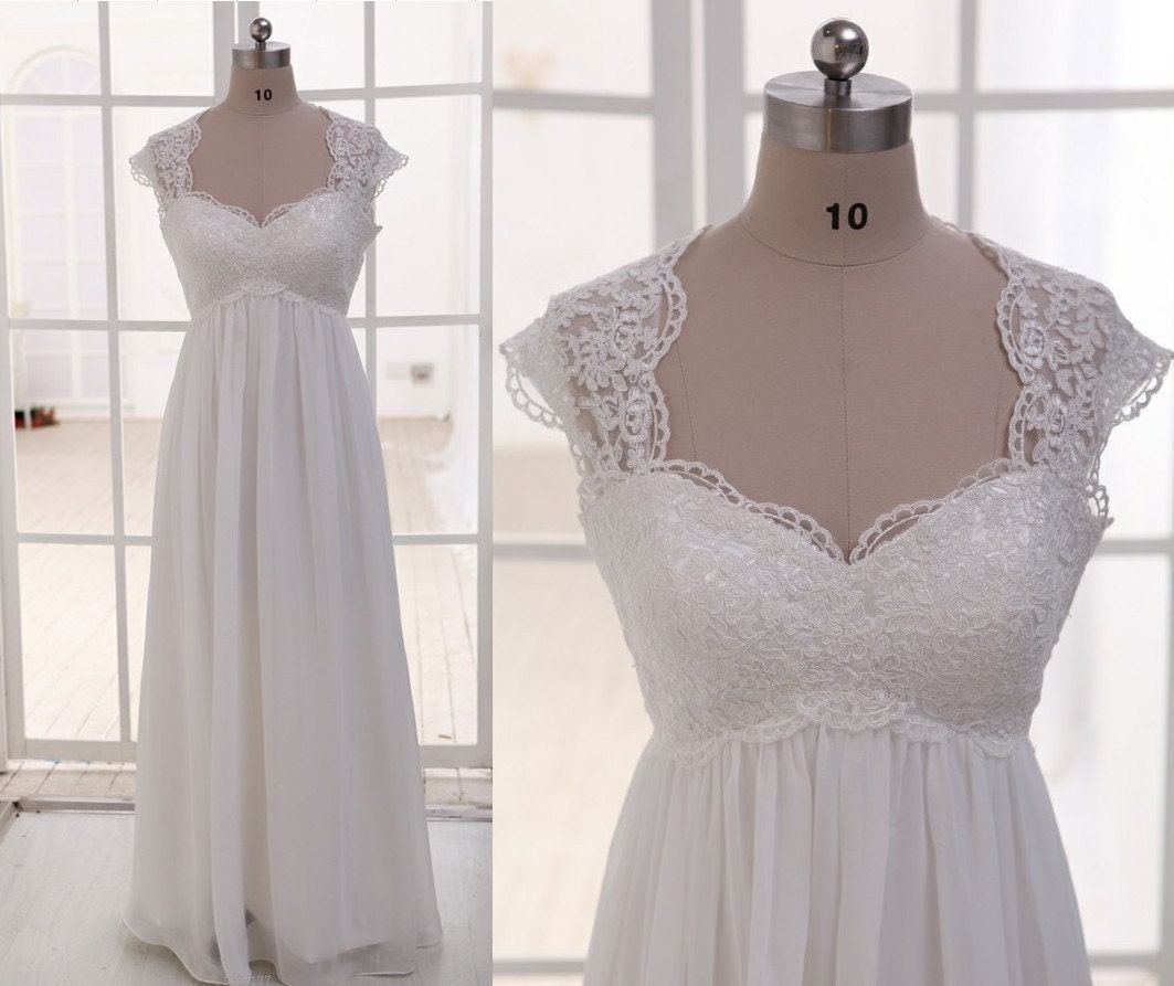 Lace Wedding Gown With Cap Sleeves: Lace Chiffon Wedding Dress Cap Sleeves Empire Waist By