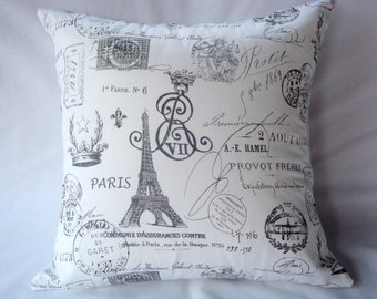 Pillow Cover. Paris Pillow. French Pillow. Grey Pillow. Throw Pillow. Home Decor. Accent Pillow. Decorative Pillow