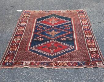 Beautiful Burnt Red, Blue, and White Persian Shiraz Rug