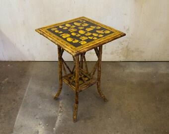 Englis Bamboo Shelf Table with Decoupage Gramophones