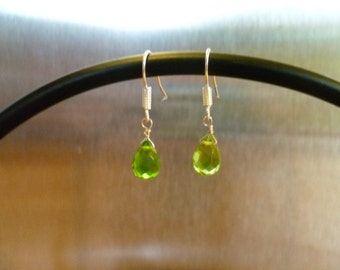 Peridot Briolette Dangle Earrings