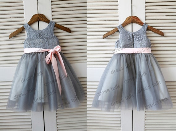 Grey Lace Tulle Flower Girl Dress Junior Bridesmaid Dress with Pink Sash