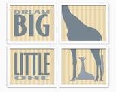 Dream Big Little One Inspirational Quote Childrens Room Décor Gender Neutral Nursery Wall Art Prints with Giraffes Safari Themed Nursery