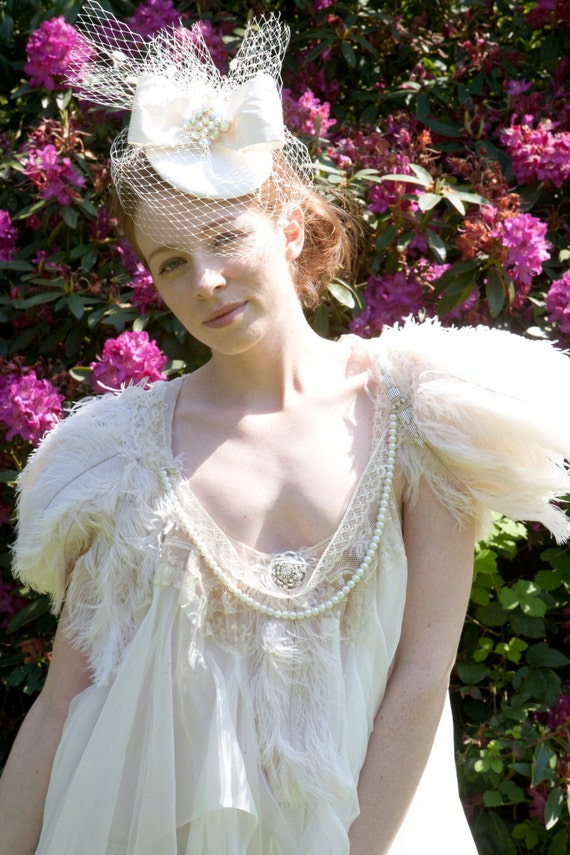 Stunning Amie ostrich feather cape with antique lace, pearls and 1920's style bead work