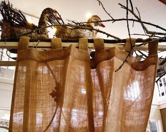 Burlap Curtains Panel 52''- back tabs curtain - choose your length