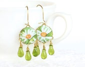 Dangle Earrings - Daisies on Green - White Yellow Flowers Green Leaves - Fresh Summer Fabric Covered Buttons Earrings with Czech Glass Beads - PatchworkMillJewelry