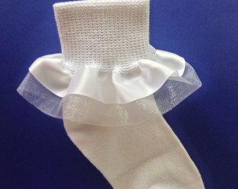 White Ruffle Socks - Ivory Ruffle Socks - Baptism Socks - Christening Socks - Girls Ruffle Socks - Girl Socks