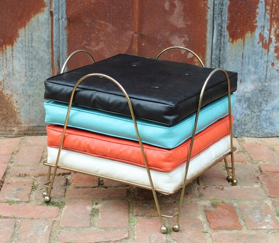 Vintage Mid Century Modern Floor Pillow Set With Rack Atomic