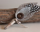 Mens Wedding Boutonniere, Woodland Rustic Style, Linen Buttonhole