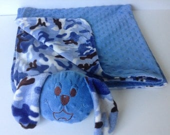 Blue Dog  Minky blanket, Blanket with Friend, Comfort Blanket, Security Blanket,  toy blanket, 3-in-1, blanket-pillow -toy, Ready to ship