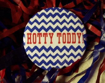 Ole Miss Hotty Toddy Red or  Blue Chevron 2 1/4 in metal pin