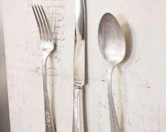 Silverware Magnet Set of 3 - Vintage Silver Plate Fork Spoon Knife - Fridge Magnet - Antique - Trio - Gift