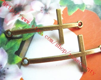 wholesale 100pcs 50x20mm Antiqued Bronze CROSS charms  connector findings