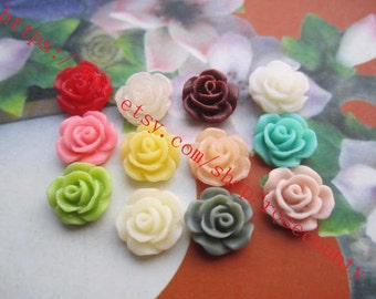 Wholesale 100pcs 10mm assorted(12 colors) resin rose flower Cabochons/cameos