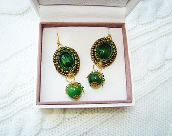 Green Earrings  Beaded  Embroidery  Earrings oriental-style earrings