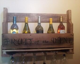 Wood Wine Bottle Rack...Rustic Wood Wine Rack...Wine and Glass Rack