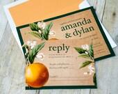 Wedding Invite Set-Vintage Orange Tree Blossom Illustration Orange-Green-DIGITAL LISTING