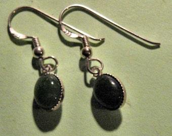 NATURAL JADE sterling silver earrings