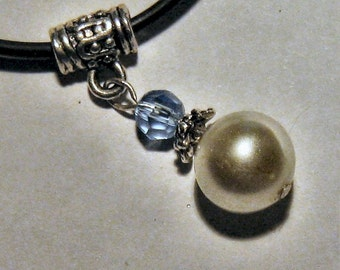 VINTAGE PEARL PENDANT with a swarowsky crystal bead on cord with parrot clasp