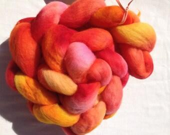 Organic Polwarth, 113g, Roving, spinning, felting, Crafts, Hand Dyed, OOAK, Opol-072007, red, orange, pink, yellow