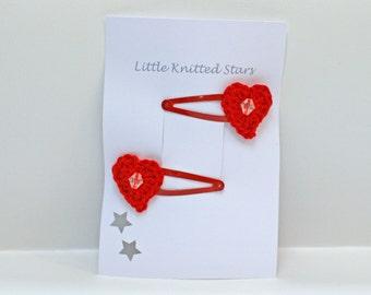 Hairclips - Child's Crochet Heart handmade