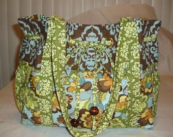 Tote Bag Diaper Bag, Lila Tueller fabric