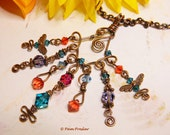 Copper and Swarovski Crystal Chandelier Necklace, Reserved for Connie